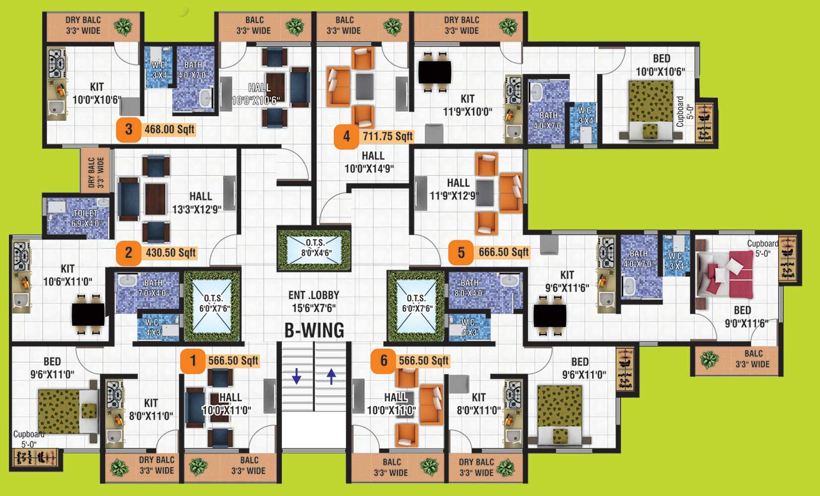 B Wing Floor Plan